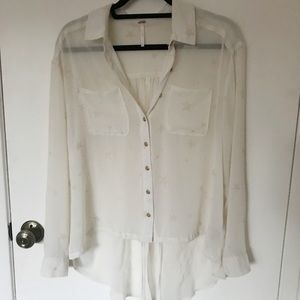 Free People Sheer Starry Blouse